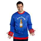 Mens Ugly Christmas Sweater Grab a Frosty Beer with Lights Size XL Blue
