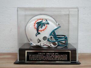 Drew Brees Football Mini Helmet Display Case With A Saints Engraved Nameplate