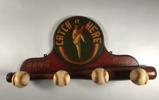 Vintage Baseball 4 Peg Hat Rack Coat Rack