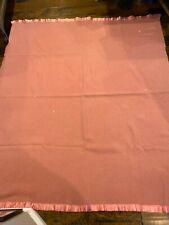 Vintage Wool Twin Bed Blanket~Coral Peach*Orange*Throw*Beddin g