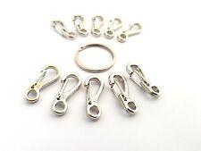10 Silver Aluminium Quick Release Key Rings - Spring Clip Mini Carabiner
