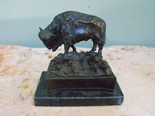 American Buffalo Bison Western Artwork Bronze Marble Statue Sculpture Art Gift