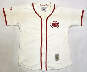 Vintage Starter Cooperstown MLB Cincinnati Reds Baseball Jersey White L Sewn