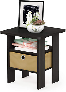 Night Stand End Table w/Bin Drawer, Espresso/Brown | Bedroom Storage Clock Stand