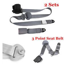 2x Gray Seat Safety Belt Lap Lap Belt Universal Adjustable 3 Point For Car Truck