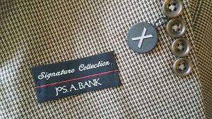 42R Jos A. Bank Houndstooth Over Check Blazer Wool Brown Tan Jacket Sport Coat
