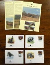 WWF UGANDA 1983 AFRICAN ELEPHANT FDCS INFO PAGES & MINT STAMPS 4V