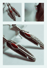 Color Feather Shaped Earring Set New Women's Red Drop Dangle Silver