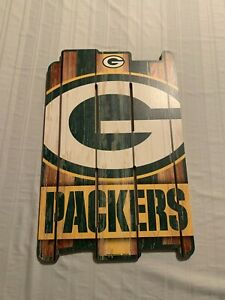 """Green Bay Packers NFL 17"""" x 11"""" Wood Decorative Indoor Sign Wincraft Brand New"""