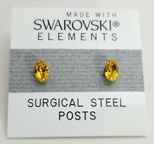 Golden Yellow Oval Stud Earrings 6mm Small Crystal Made with Swarovski Elements