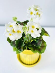 Small Potted Artificial White Geranium Plant Faux Fake Plants in Pot, 10x26cm