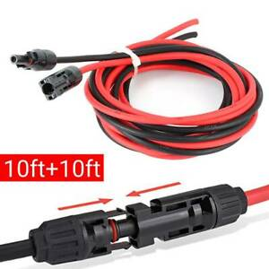 10 AWG Black+Red Solar Panel Extension Cable Wire  Connector Accessory 10ft