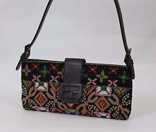 FENDI Italian Designer Hand Beaded Vintage Black Party shoulder baguette bag