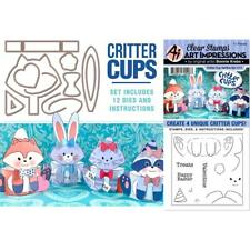 New Art Impressions CLEAR Rubber Stamp & die SET VALENTINE / EASTER CRITTER CUPS