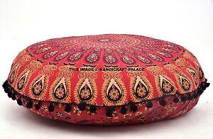 Mandala Indien Pouf 81.3cm Méditation Coussin Rond Housse Ottomane Pouf Taie