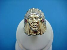 """SOLID 14K YELLOW GOLD """"INDIAN HEAD"""" WITH DIAMONDS AND RUBIES,11.7 GRAMS,SIZE 9.5"""