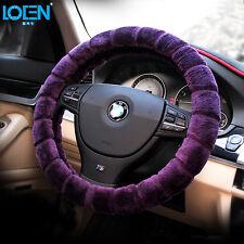 Luxury Purple Winter Plush Warmth Auto Car Accessory Steering Wheel Cover 38cm
