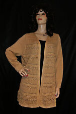 NWT UNIQUE TAN OATMEAL WITH GOLD SPARKLE OPEN SLIP ON CARDIGAN WRAP 2X MSRP $64
