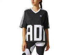 adidas Originals Womens Bold Age V Neck Short Sleeve Tee T-shirt Top - Black 14