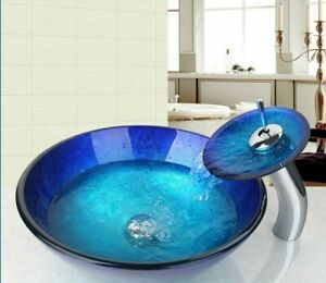 Hand Painted Washbasin Sinks Waterfall Spout Basin Tap Durable Faucet Mixer Taps