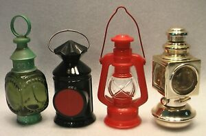 4 AVON LANTERNS GLASS & PLASTIC COUNTRY WHALE OIL LAMP CAPTAIN'S LAMP AUTO LAMP