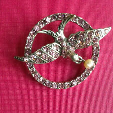 Vintage Pink Crystal Silver Plate Flying Swallow & Tiny Pendant Pearl Brooch Pin