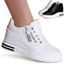Damenschuhe Keil Sneaker Hidden Wedges Plateau Turnschuhe Freizeitschuhe Trendy