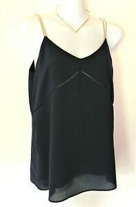 WITCHERY Navy Camisole Top NWOT Size 6 Elegant Fine Silver Chain Straps Lined