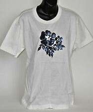 Vtg 90s NW0T ESCADA white Novelty T SHIRT with Blue Sequin Flower Design sz 38