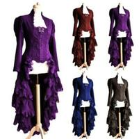 Damen Medieval Gothic Cosplay Kostüm Lange Jacke Bühne Spitze Smoking Mantel D