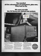 PAN AM 1970 WORLD AIR CARGO BOEING 747-100 FLYING SAFE DEPOSIT BOX CONTAINER AD