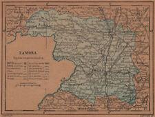 Zamora. Castilla y León. mapa antiguo de la provincia 1905 Antiguo Viejo