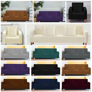 1/2/3/4 Seater Elastic Sofa Cover Slipcover Stretch Plain Couch Protector Velvet