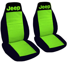 Jeep Wrangler Seat Covers Lime Green & Black with Jeep Canvas Front Set