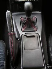 FITS MAZDA MX5 1990-1997  GEAR HANDBRAKE BOOT LEATHER  RED DOUBLE STITCH