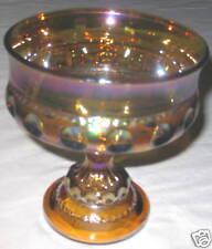 "Carnival 5.25"" Glass Amber Gold Pedestal Candy Dish"