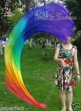 1 pair 2.3m*0.9m Rainbow silk dance veil poi, interchangeable chain,edges rolled