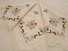 "Vintage Off White Cotton Tablecloth Hand Embroidered Flowers 28"" x 30"""