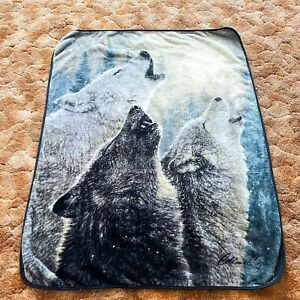 Vtg Fleece 90's Three Wolf Wolves Howling At The Moon Reversible Throw Blanket