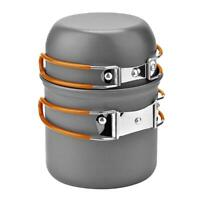 DS-101 Outdoor Camping Cookware Set Portale Orange Handle Tableware Pot A#S