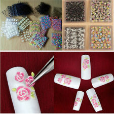 50 Sheets Flower 3D Nail Art Transfer Stickers Decals Manicure Deco Tips SE