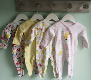 Baby Girls 4 Pretty Novelty Babygrow Sleepsuit Set 3-6 Months ducks flamingos
