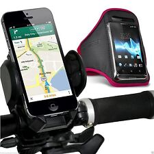 Quality Bike Bicycle Handlebar Phone Holder+Sports Armband Case Cover✔Pink