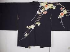 @@Vintage Japanese silk haori kimono/black/ rose bouquet A5161