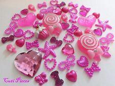 MAGENTA Rosa Scuro Lolly Cuori Fiocchi in Resina Perla Farfalla Stelle Flat-Back Craft