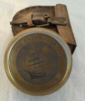 Vintage Brass Antique HMS ENDEAVOUR Compass Solid Brass with Leather Case