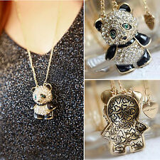 CHIC Hot Vintage Rhinestone Women Girl Panda Sweater Necklace Pendant Chain Gift