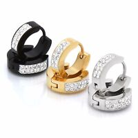 Men Ladies Stainless Steel Silver Gold Black 9mm Cz Hoop Huggie Leverback 3 Pair