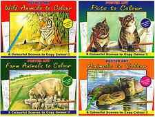 SET 4 COLOURING BOOKS WILD FARM PET COUNTRYSIDE ANIMALS PAINT PENCIL PEN 1015NEW