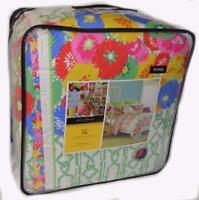 COLLIER CAMPBELL English Bloom Pink 3P King Comforter Set NWT COTTON Blue Orange